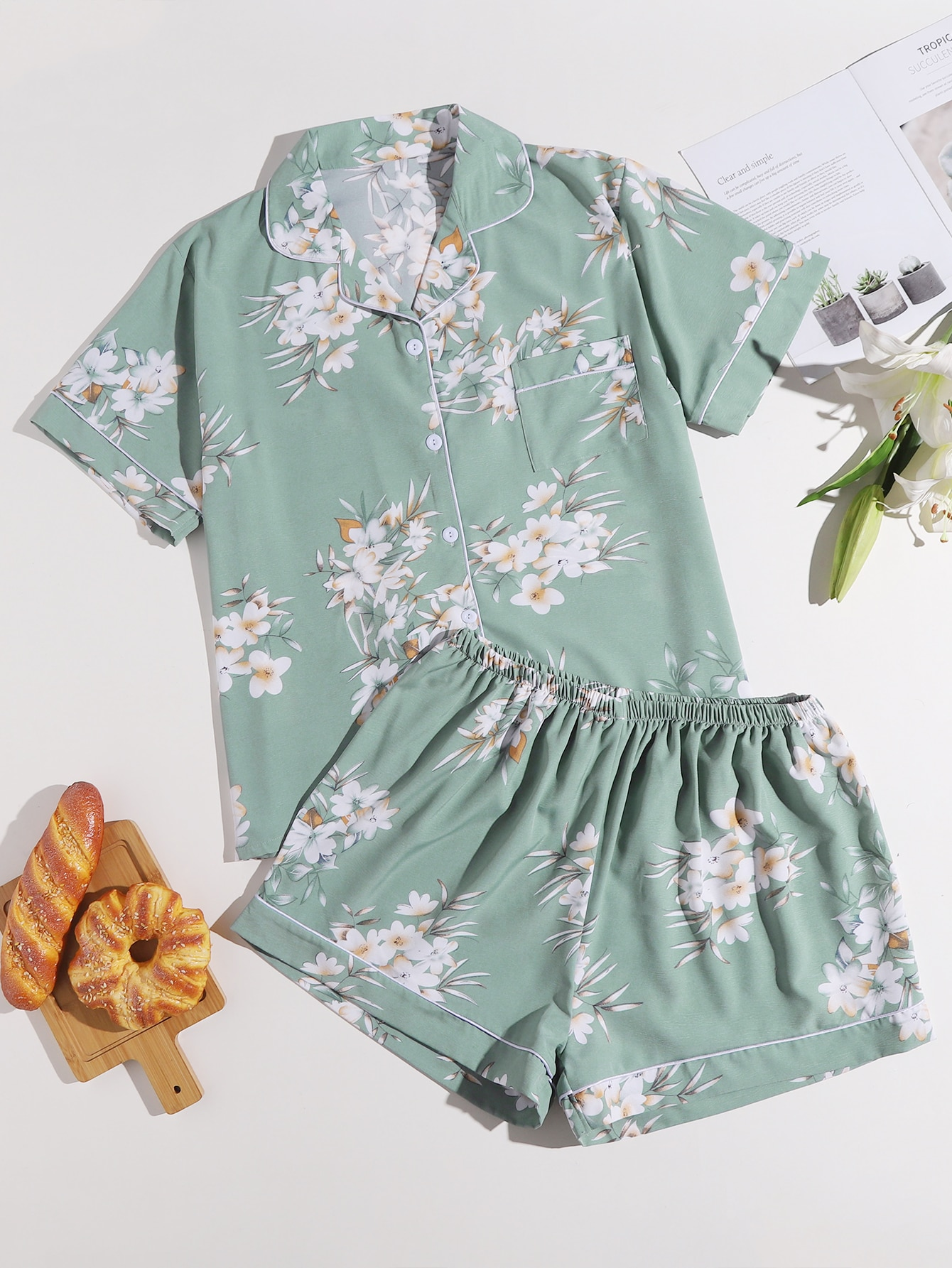 Plus Floral Print Pajama Set