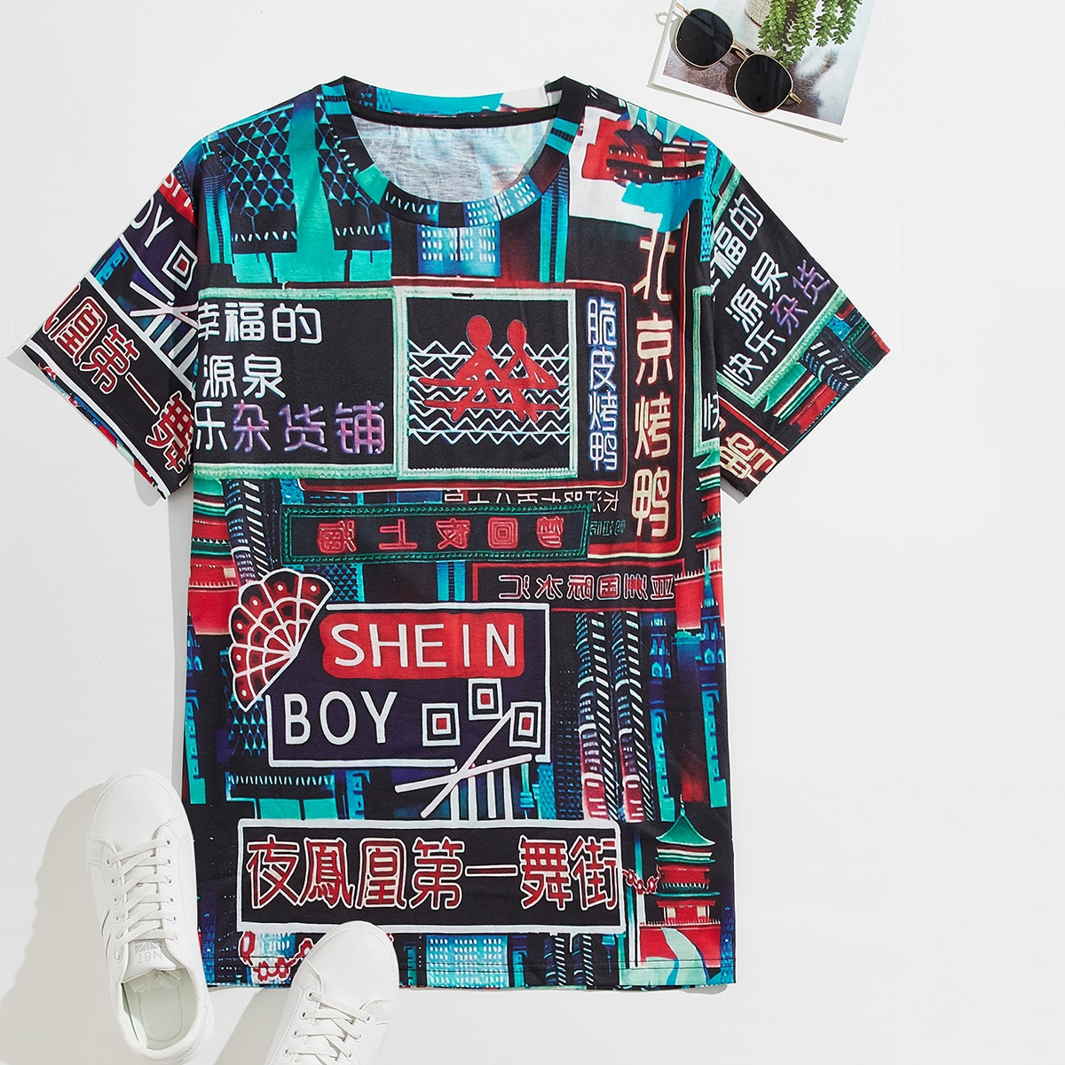 Men Random Building And Chinese Letter Graphic Tee, SHEIN  - buy with discount