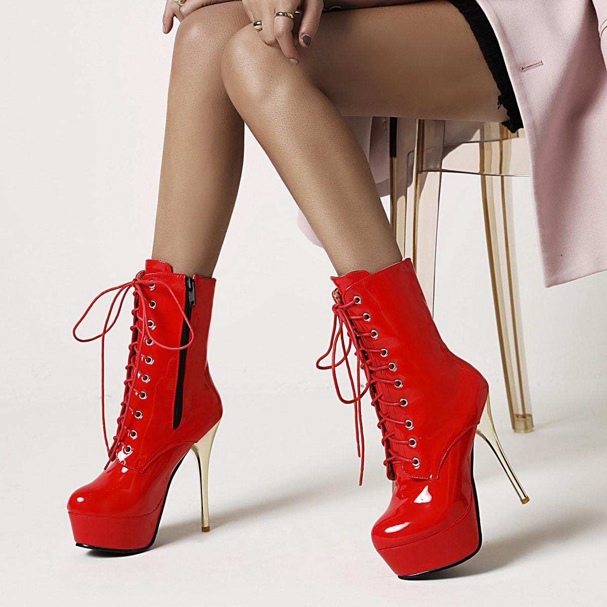 Боковая молния Одноцветный Модный Сапоги по цене 2 288