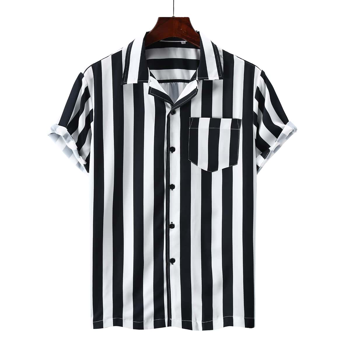 Мужская рубашка в полоску на пуговицах SheIn smshirt03210317986