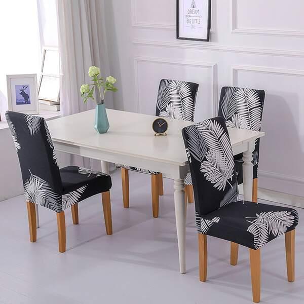 1pc Leaf Print Stretchy Chair Slipcover, Black