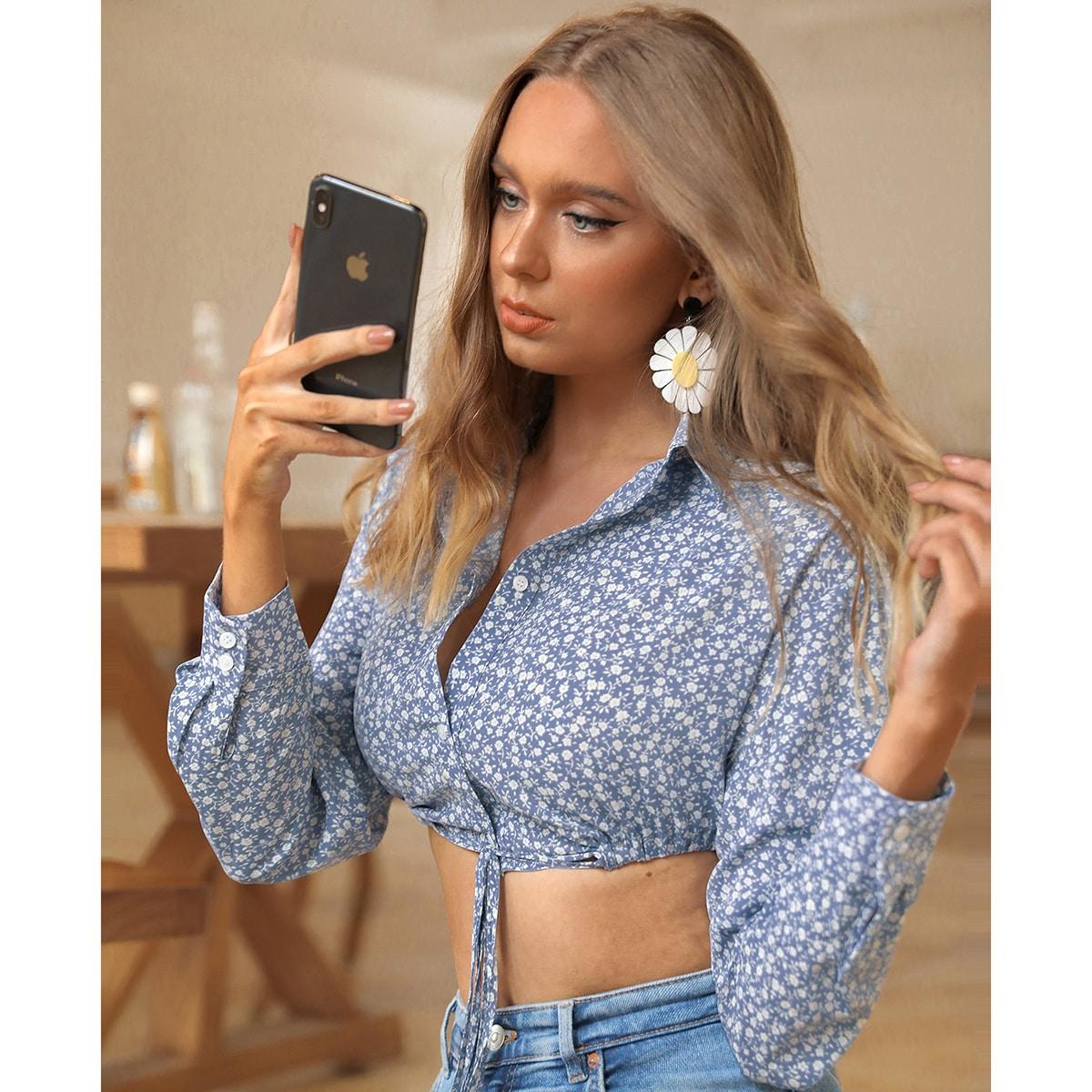 Короткая блуза с цветочным принтом с узлом SheIn swblouse02210313357