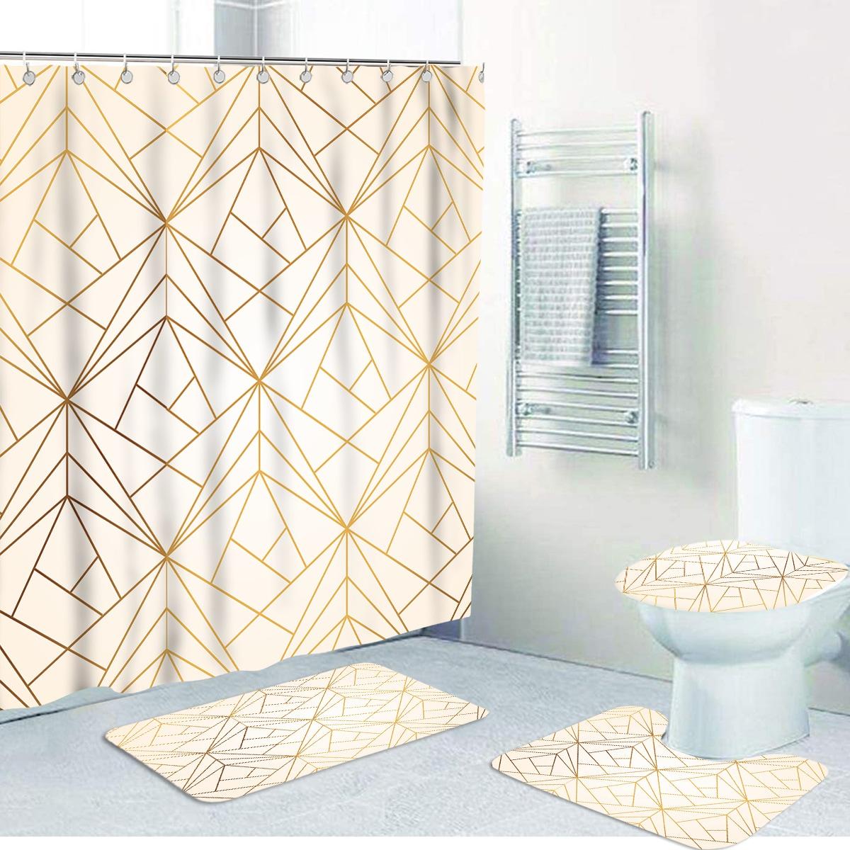 1 Stück Badematte oder Duschvorhang mit Geometrie Muster