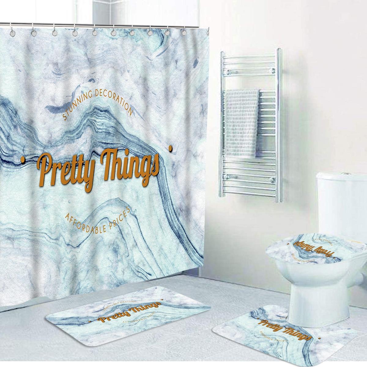 1 Stück Closestool-Matte oder Duschvorhang mit Buchstaben Grafik