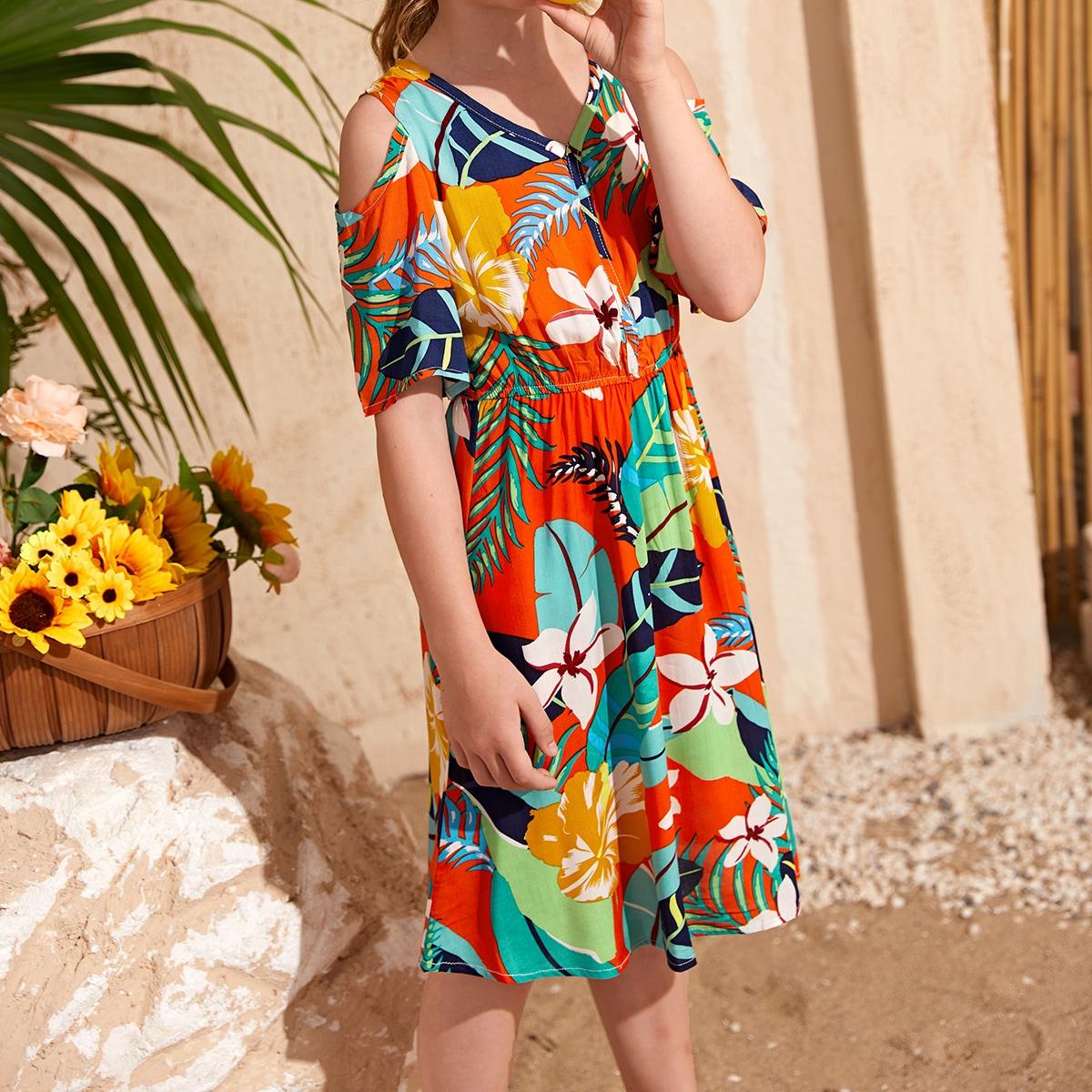 Girls Tropical Print Cold Shoulder Dress
