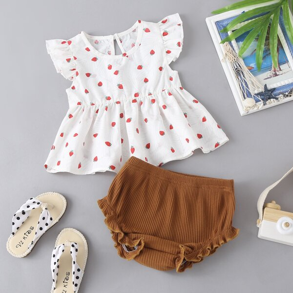 Baby Girl Strawberry Print Peplum Blouse With Shorts, Multicolor