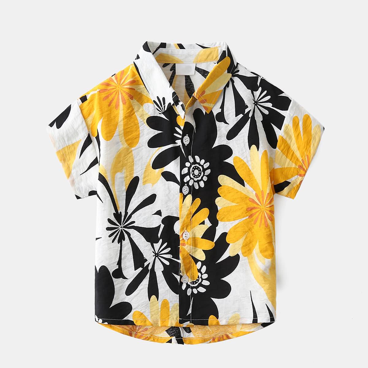 для мальчиков Рубашка цветочным рисунком асимметричный