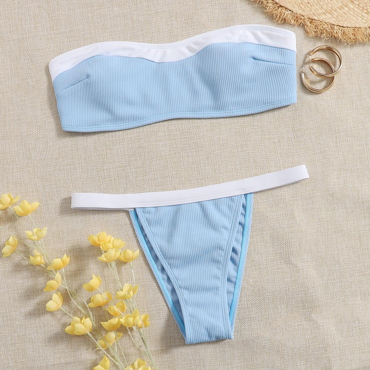 Rib Bandeau Thong Bikini Swimsuit