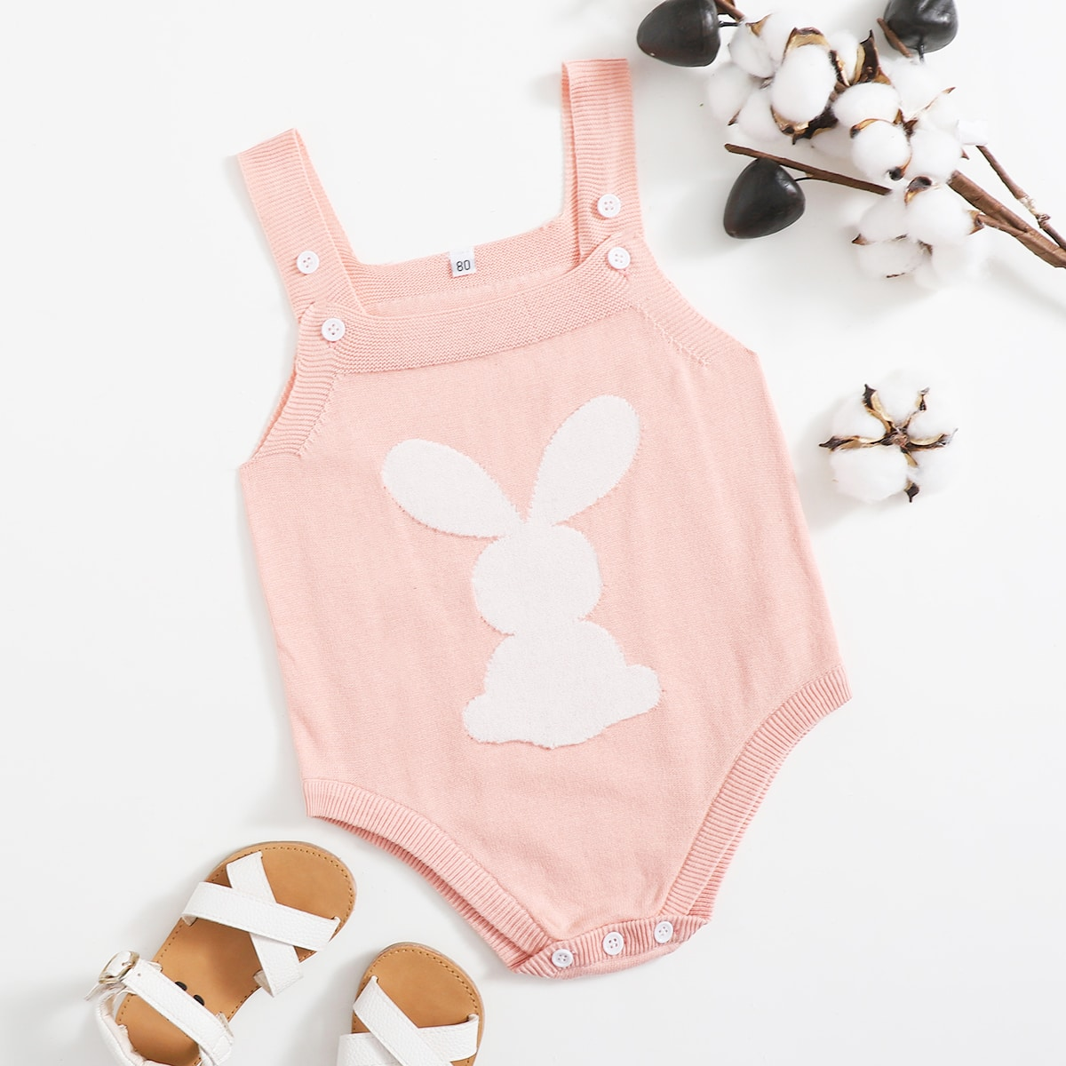 Baby Girl Rabbit  Pattern Knit Bodysuit