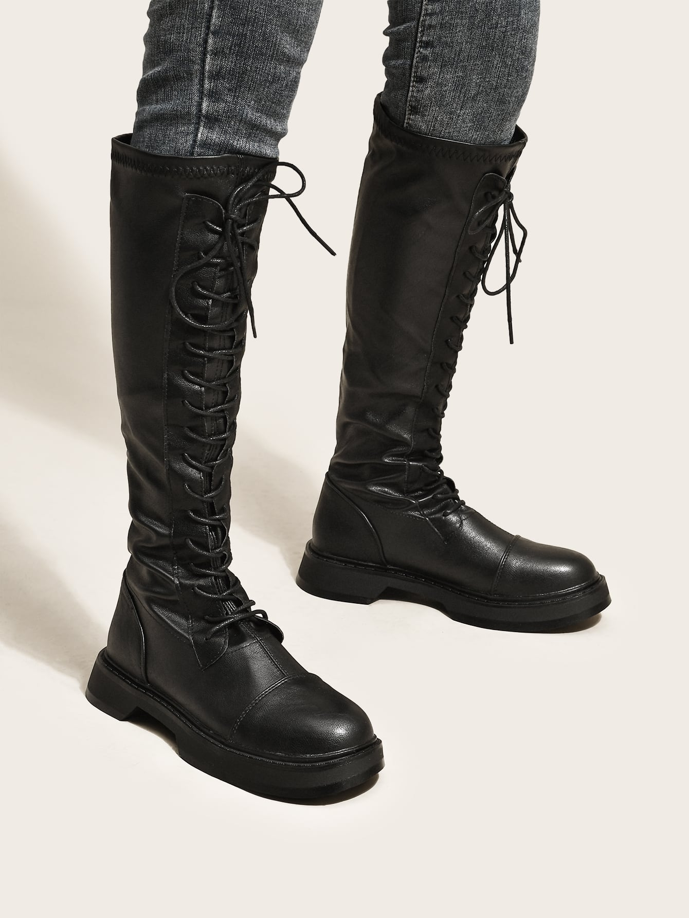 Minimalist Lace-Up Front Boots