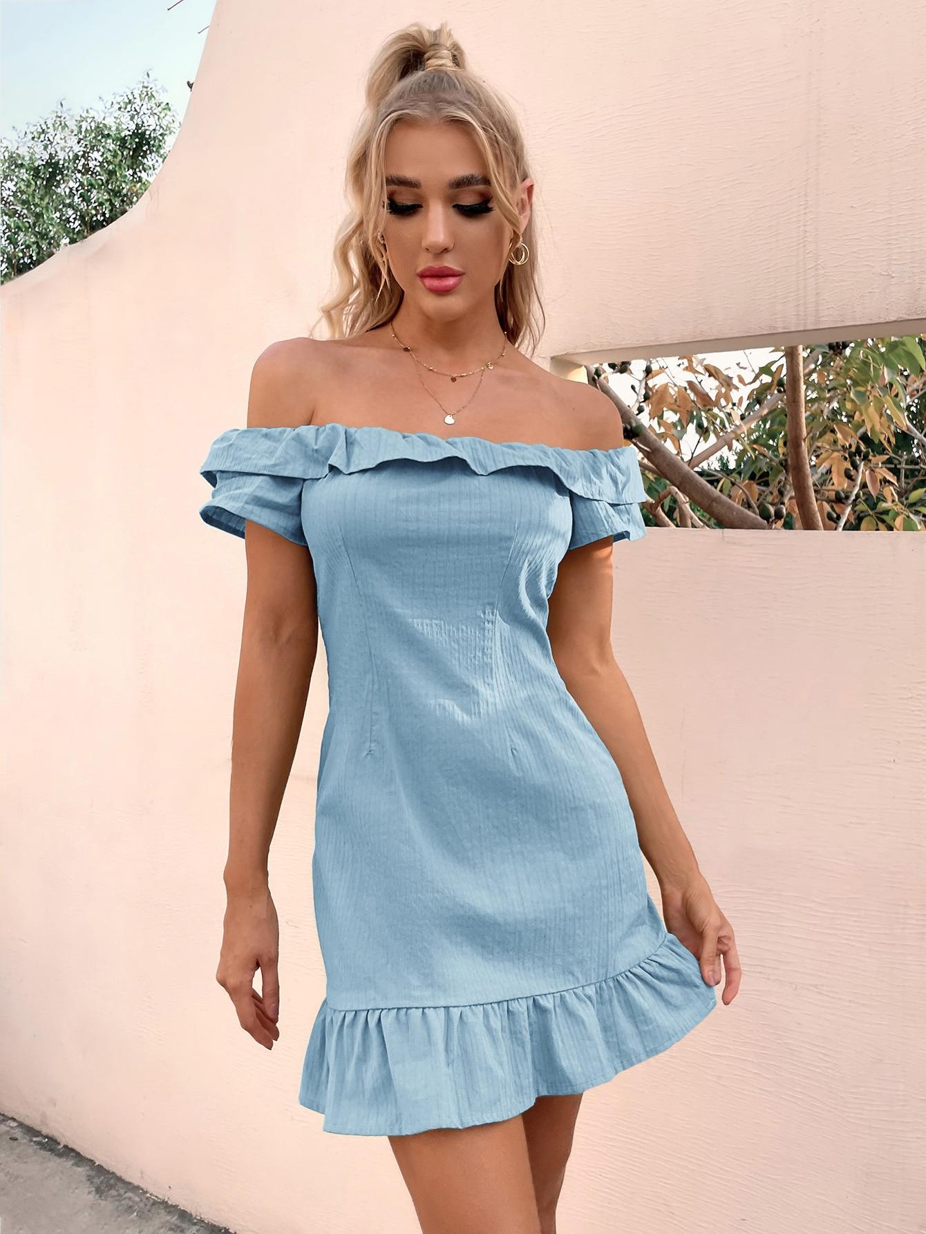off shoulder ruffle hem dress
