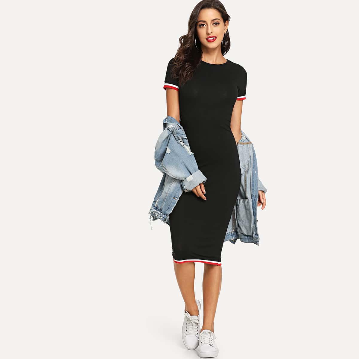 Платье-футболка в полоску SheIn dress180821725