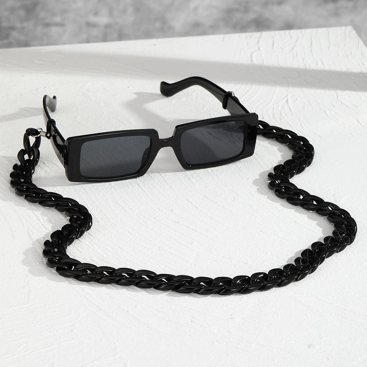 Мужские солнцезащитные очки в квадратной оправе с цепочкой для очков