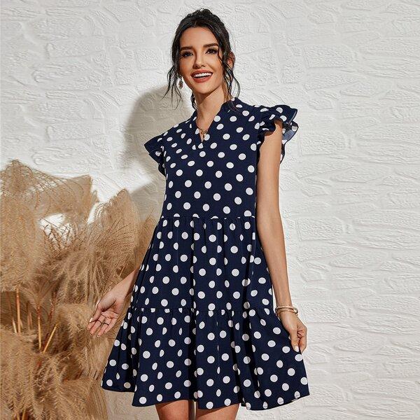 Polka Dot Notched Neck Ruffle Trim Babydoll Dress, Navy blue