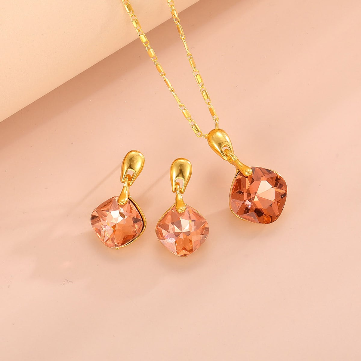 Rhinestone Charm Necklace & 1pair Drop Earrings, SHEIN  - buy with discount