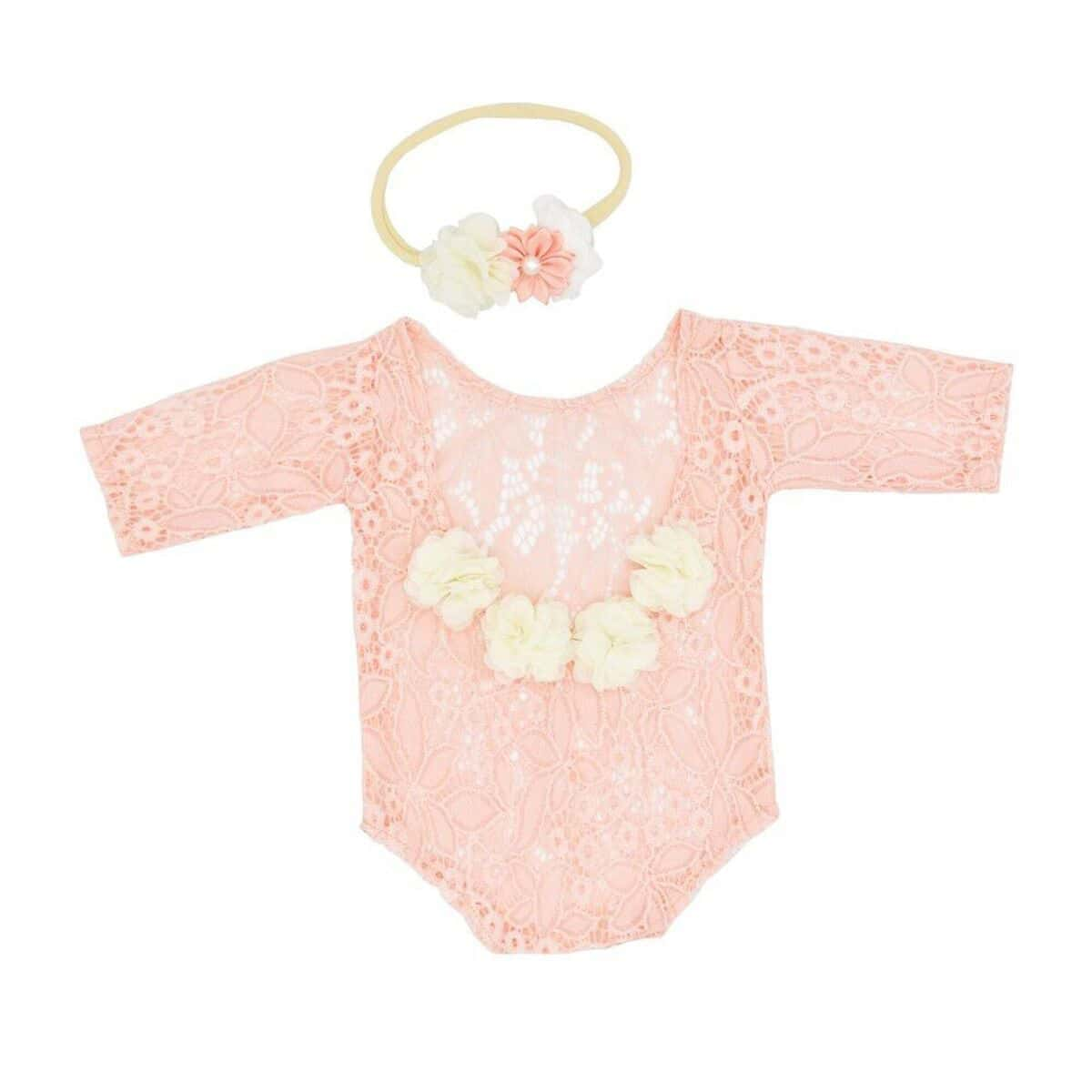 Newborn Girl Lace Stereo Flower Bodysuit & Headband Photography Set