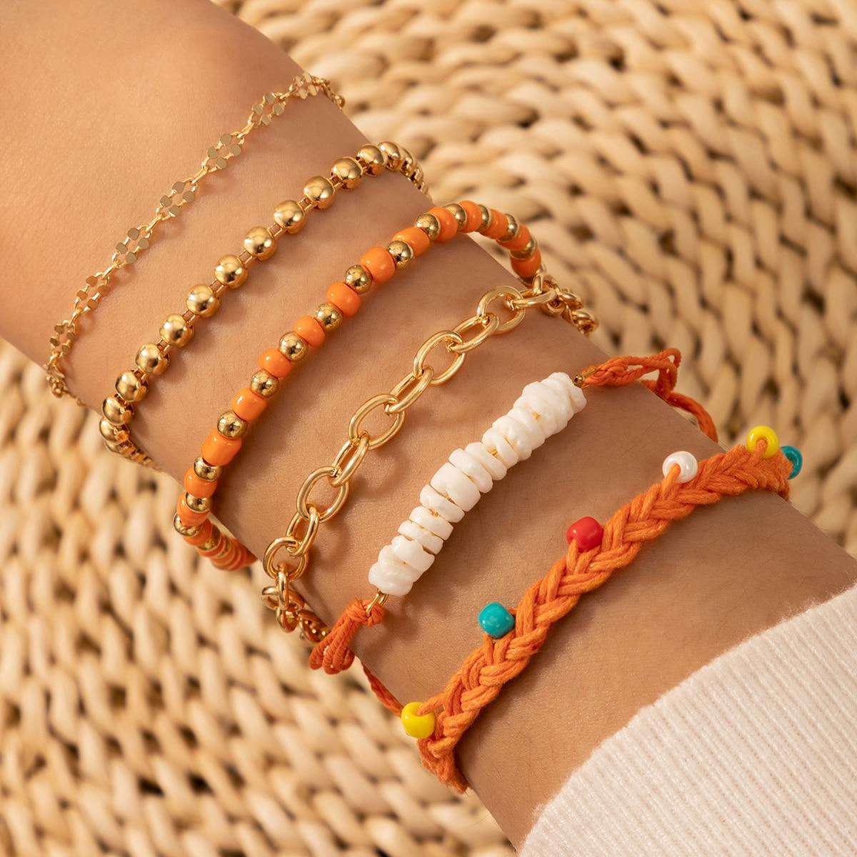 6 pièces Set de bracelet avec perles