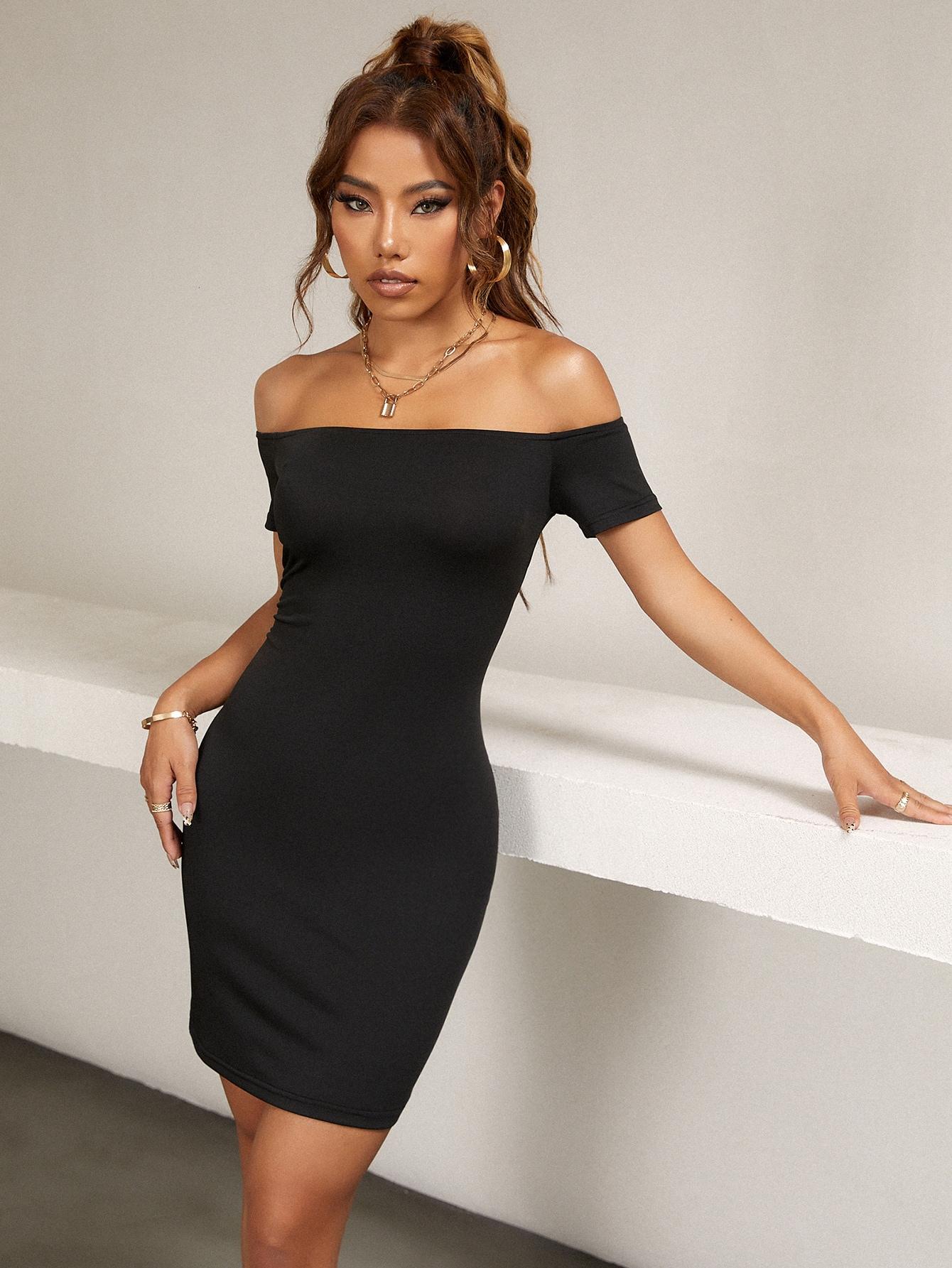 solid bardot bodycon dress