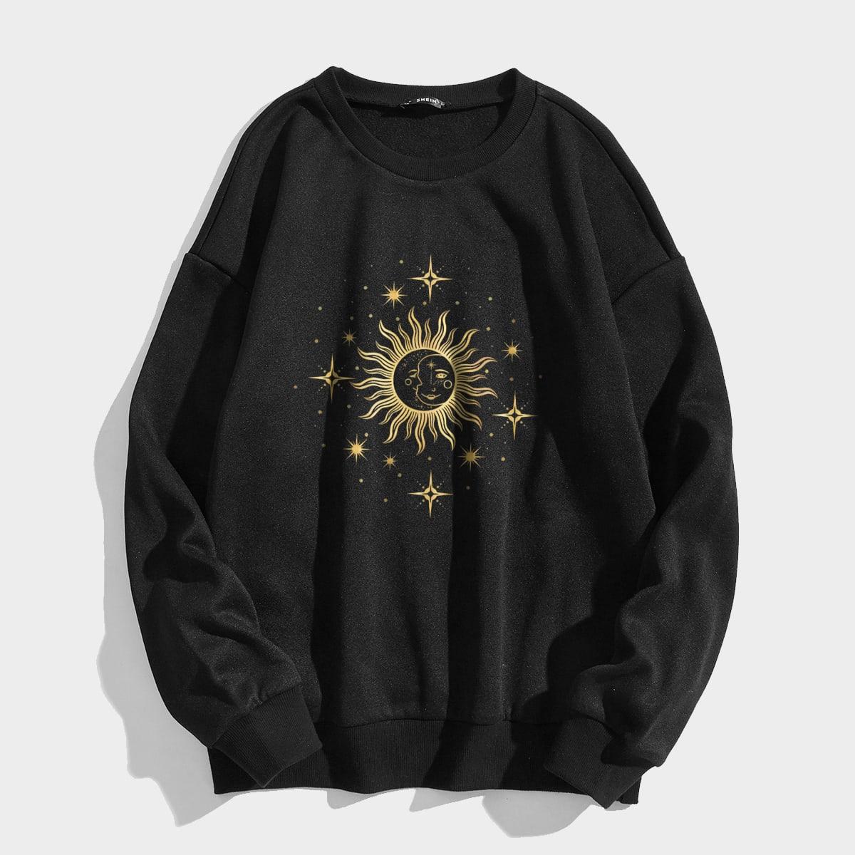 Abstract Sun And Moon Print Oversized Thermal Sweatshirt