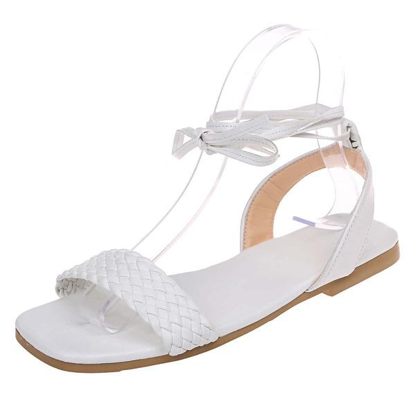 Braided Design Tie Leg Sandals, White