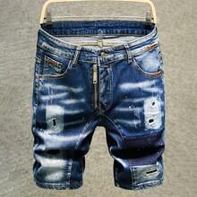 Guys Splash Print Ripped Denim Shorts