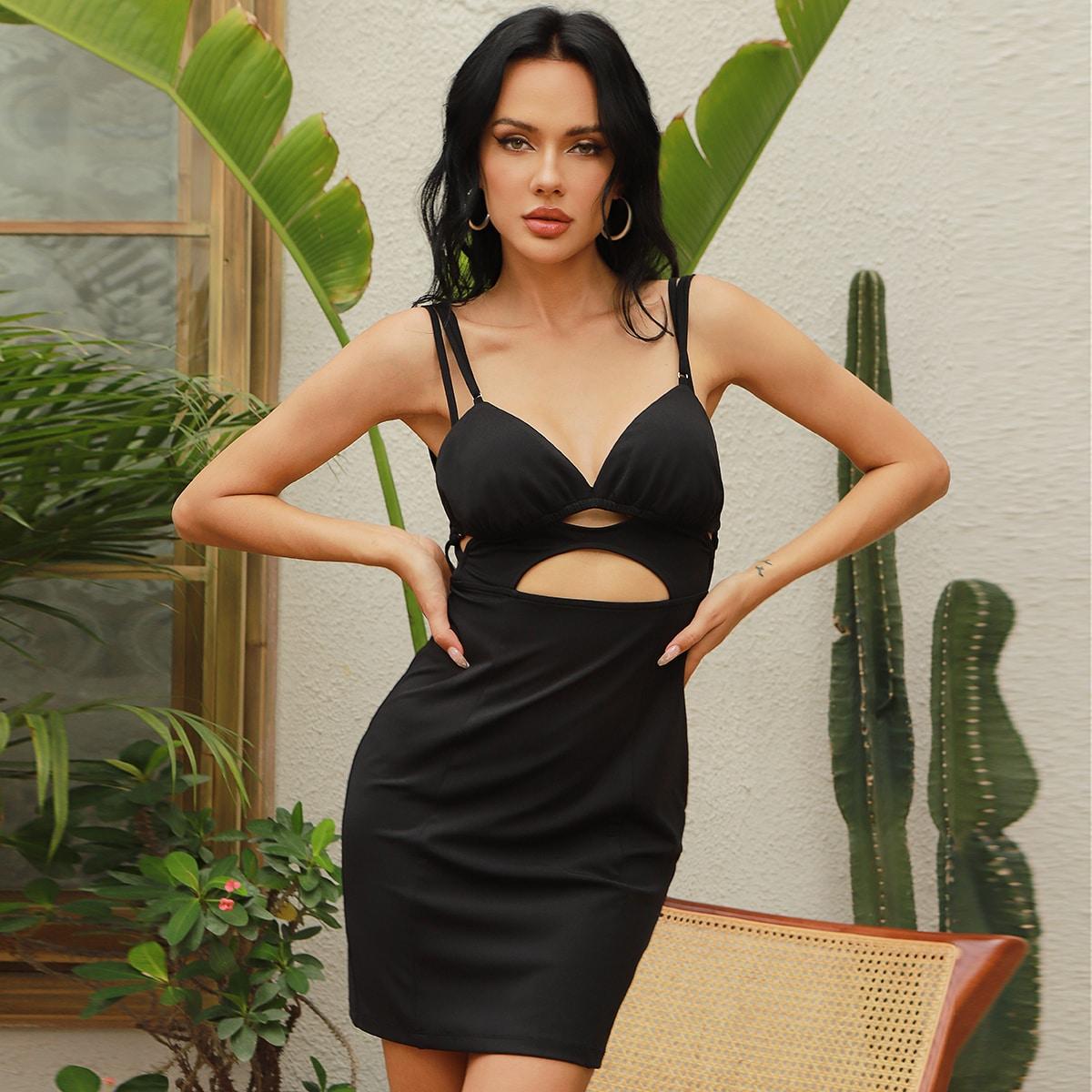 Облегающее платье с вырезом на спине SheIn swdress31210414918