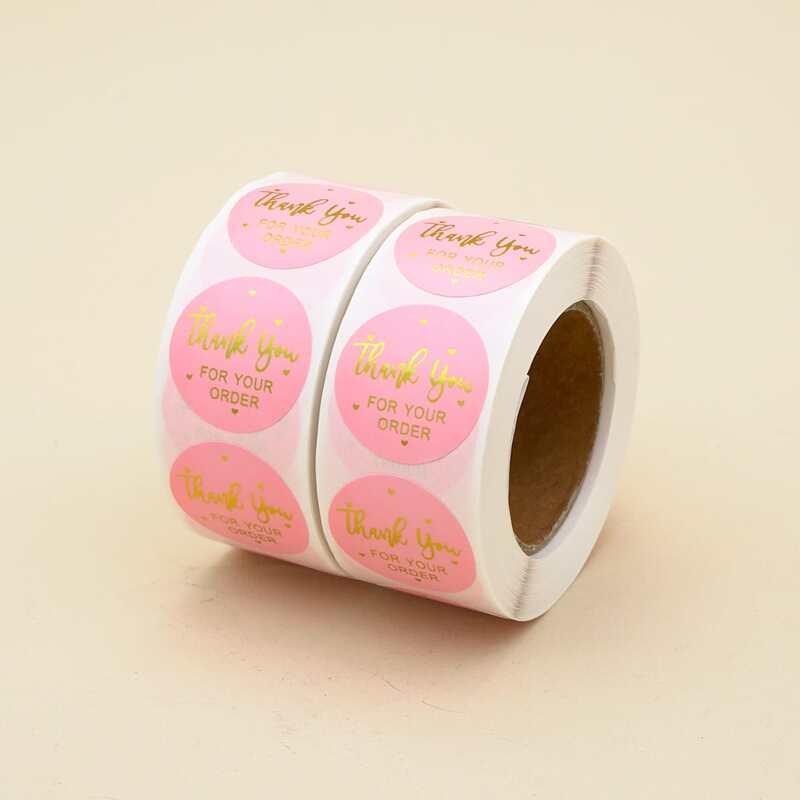 2rolls 1000pcs Slogan Graphic Sealing Sticker, Pink