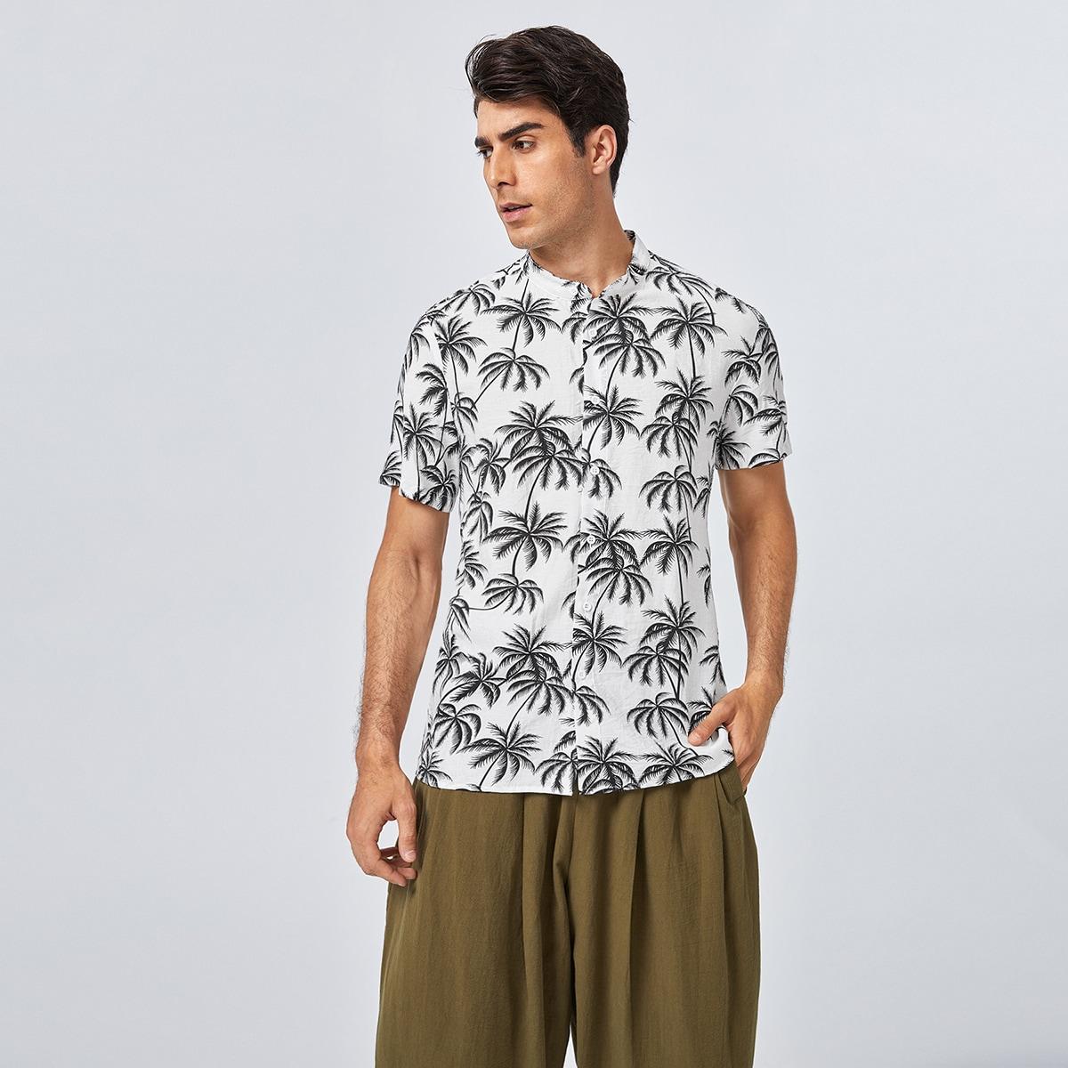 Пуговица Тропический Отпуск Мужские рубашки