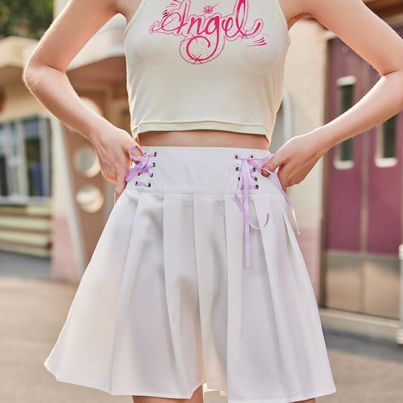 Lace Up Pleated Skirt, White
