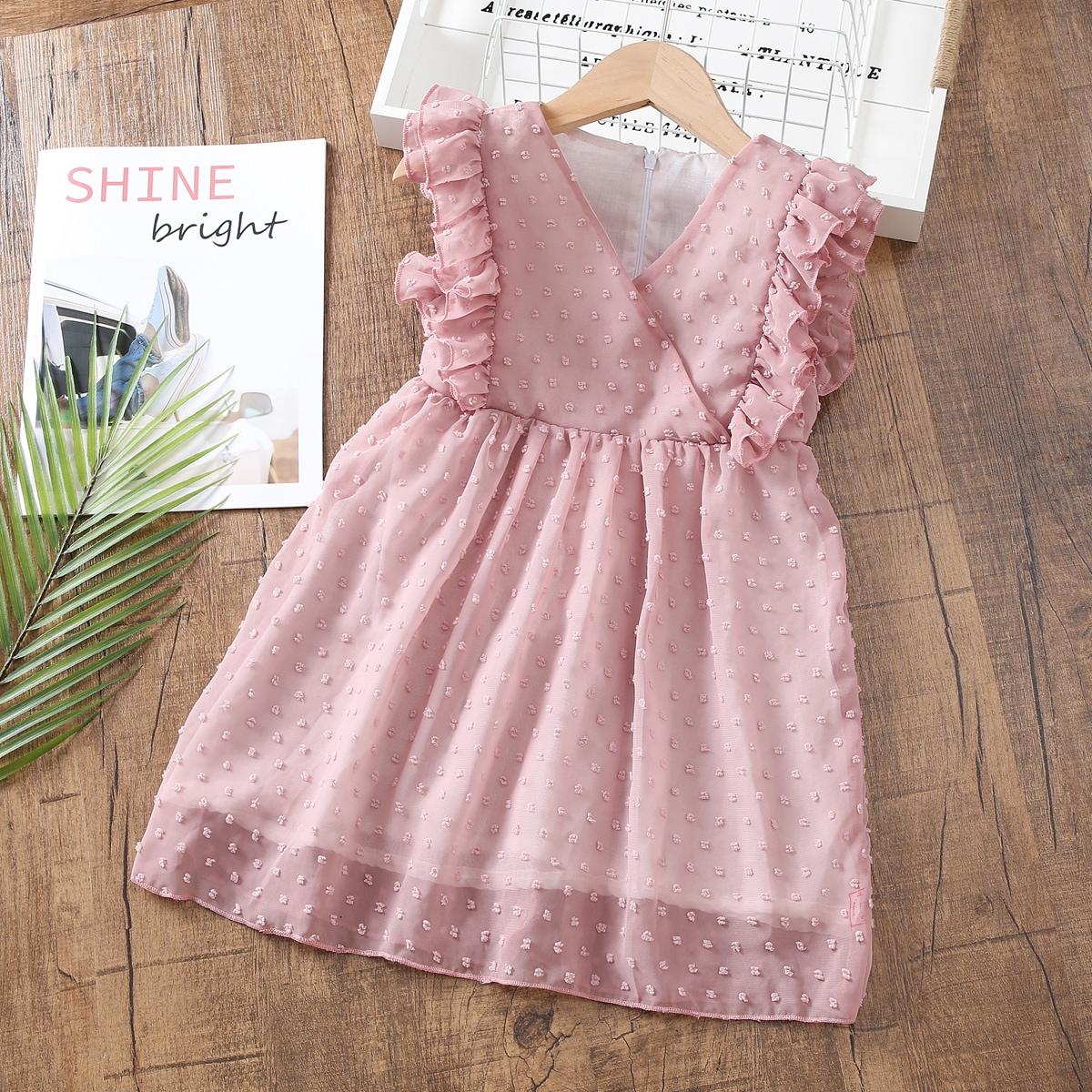 Toddler Girls Swiss Dot Ruffle Trim Dress, SHEIN  - buy with discount
