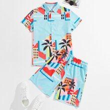 Guys Tropical Print Shirt & Shorts