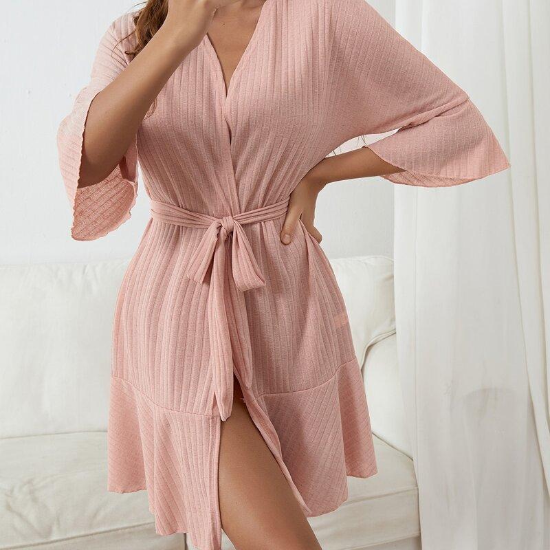 Ruffle Hem Belted Lounge Robe, Dusty pink