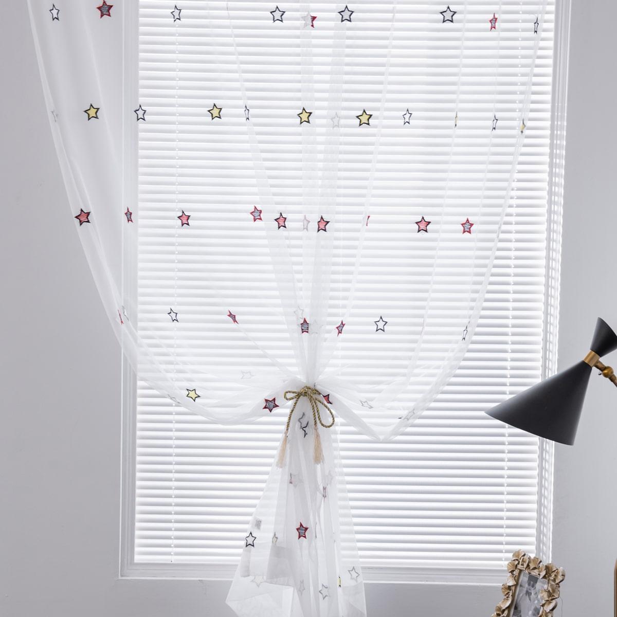 1 Schal Durchsichtiger Vorhang mit Stern Stickerei