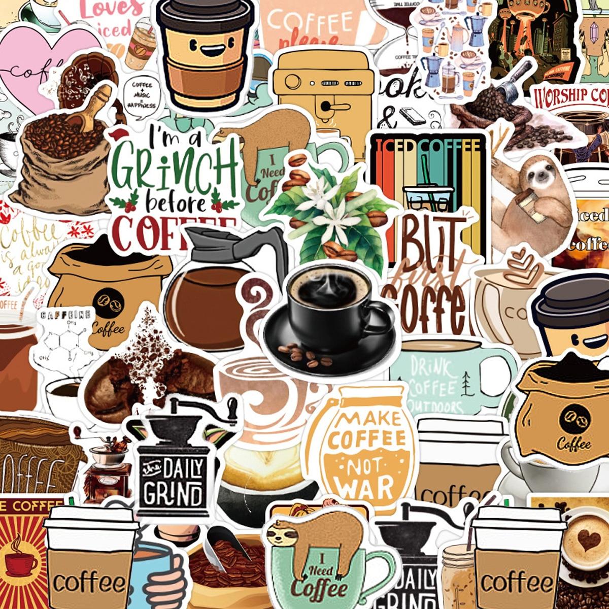 50pcs Coffee Print Sticker