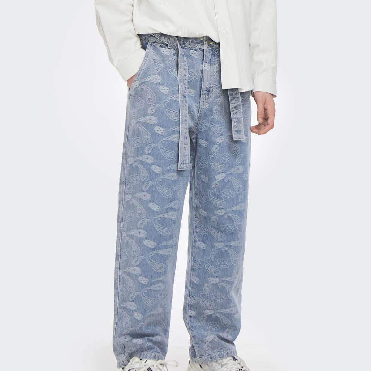 Мужские джинсы с принтом пейсли и поясом