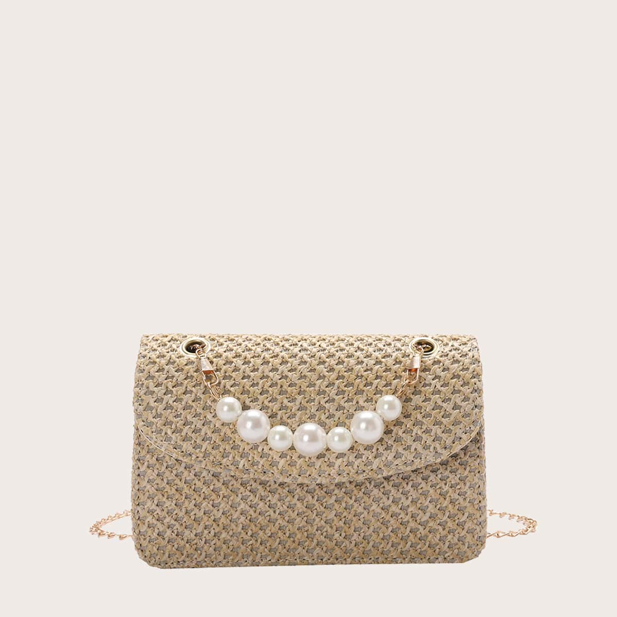 Faux Pearl Decor Woven Chain Bag