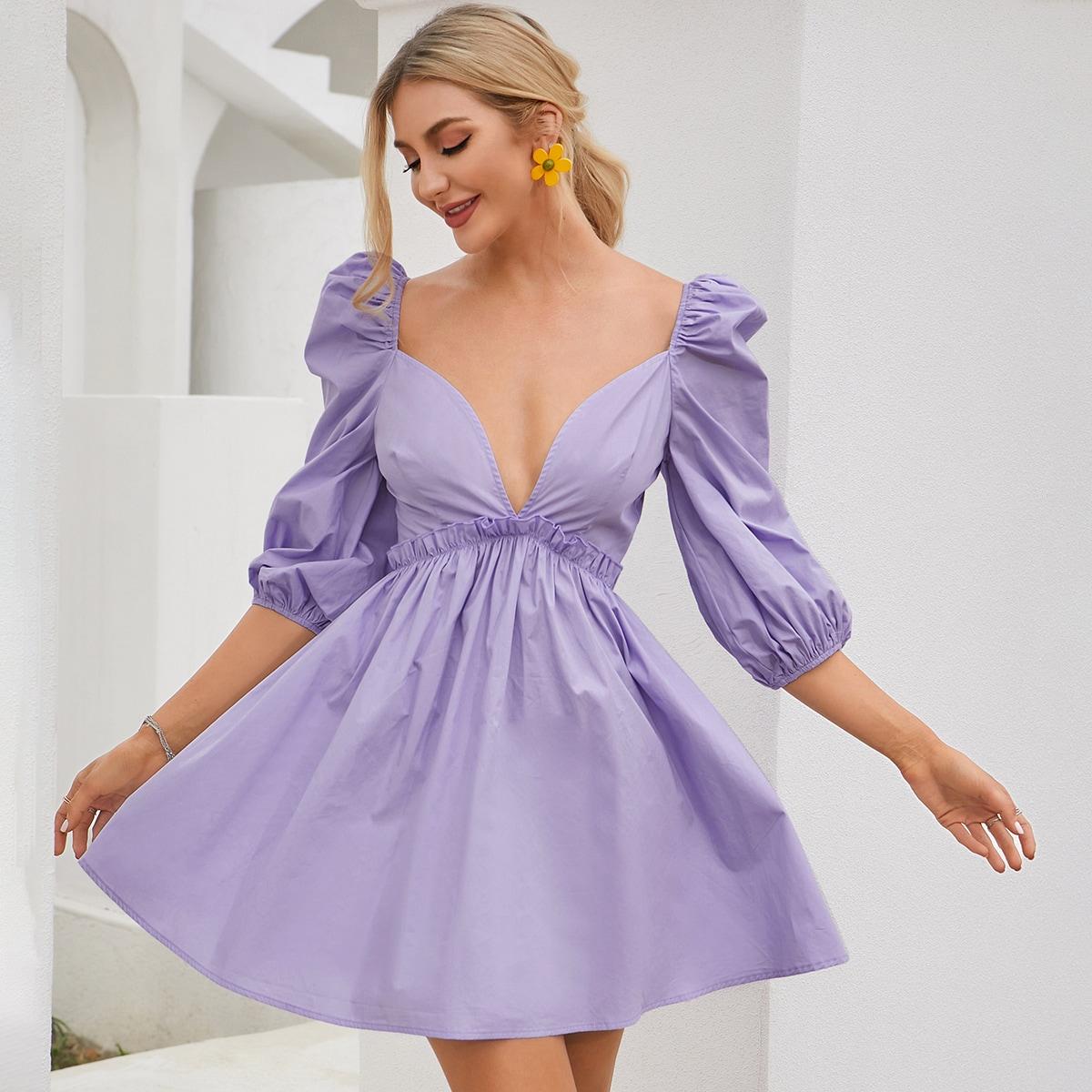 Plunging Neck Lantern Sleeve Frill Dress
