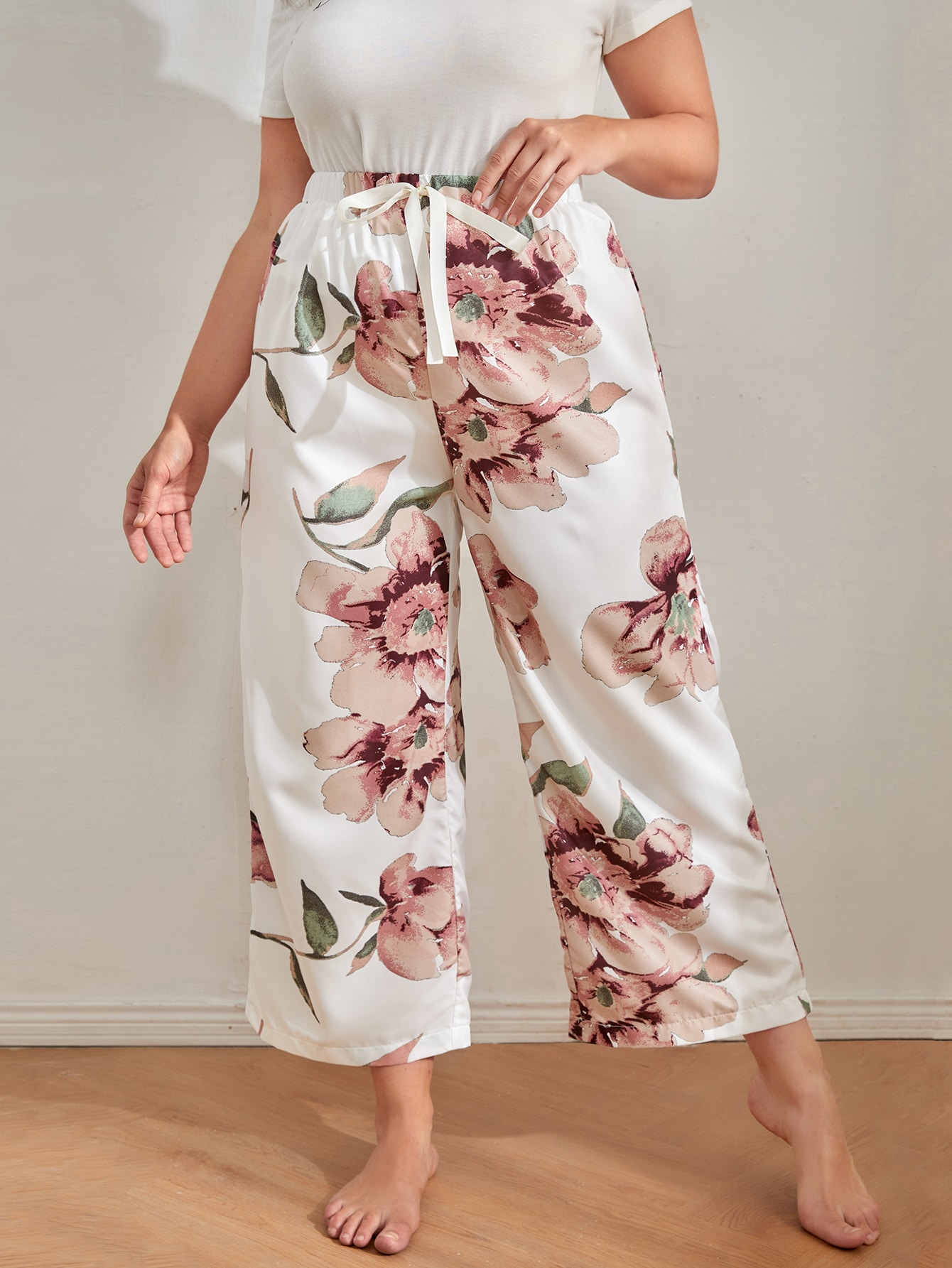 Plus Knot Front Floral Print Sleep Pants