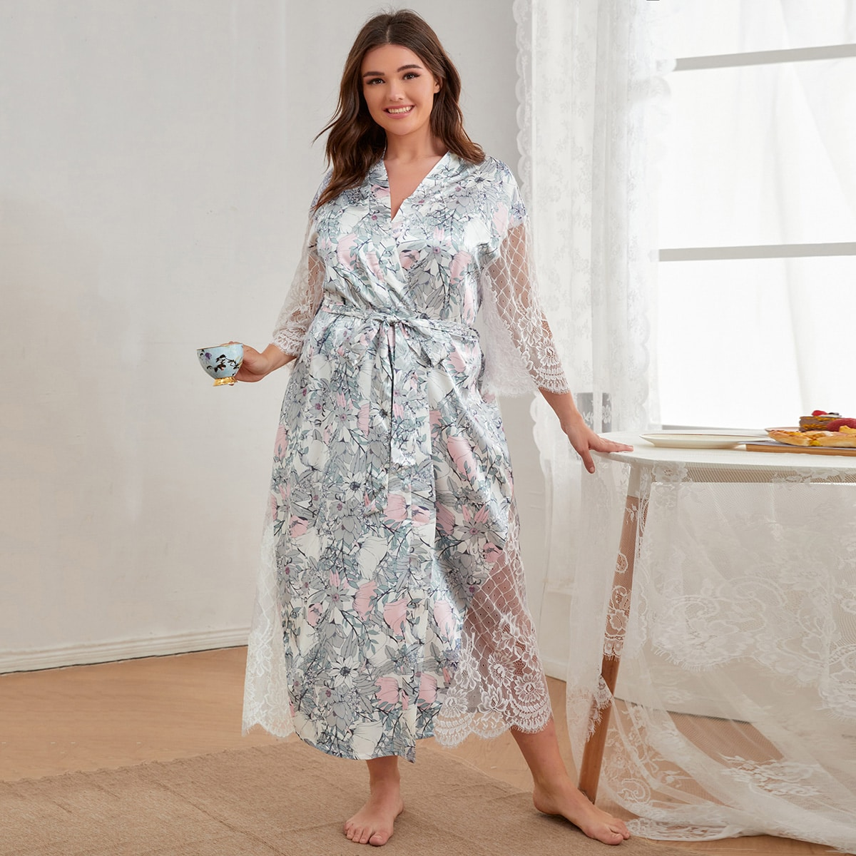 Plus Allover Floral Contrast Lace Belted Robe