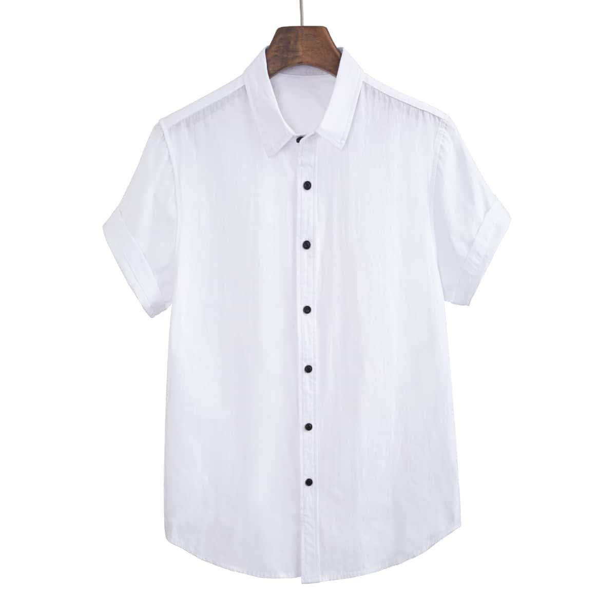 Пуговица Одноцветный Повседневный Мужские рубашки по цене 1 150