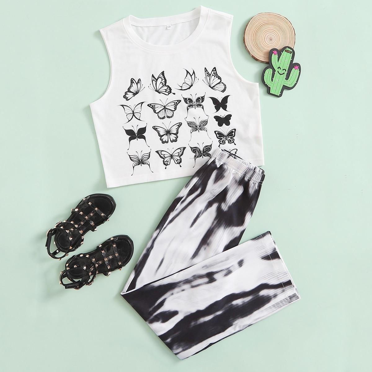 Girls Butterfly Print Tank Top & Pants