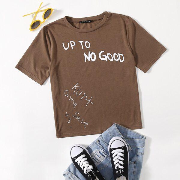 Slogan Graphic Round Neck Tee, Coffee brown