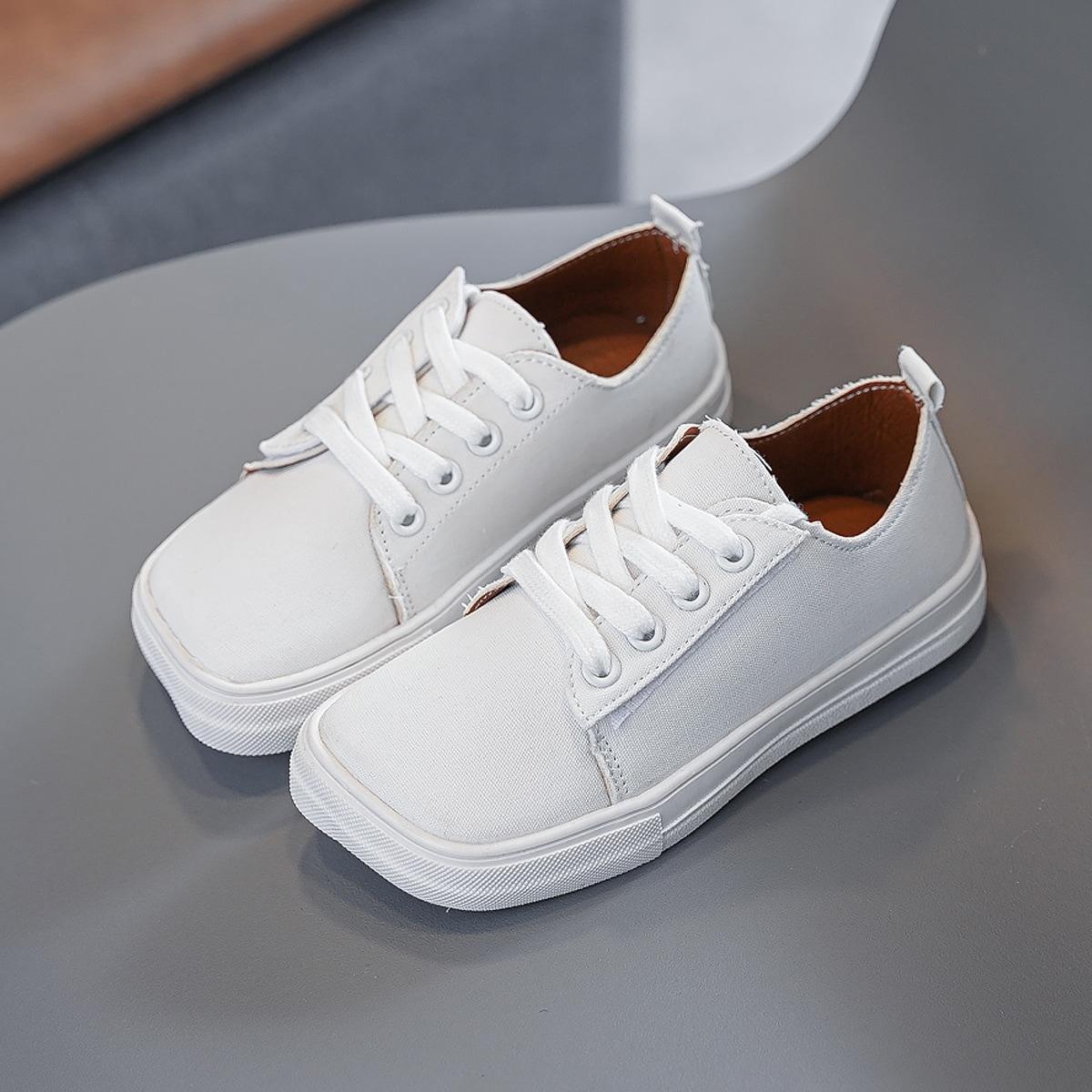 Квадратные холщовые туфли для девочек от SHEIN