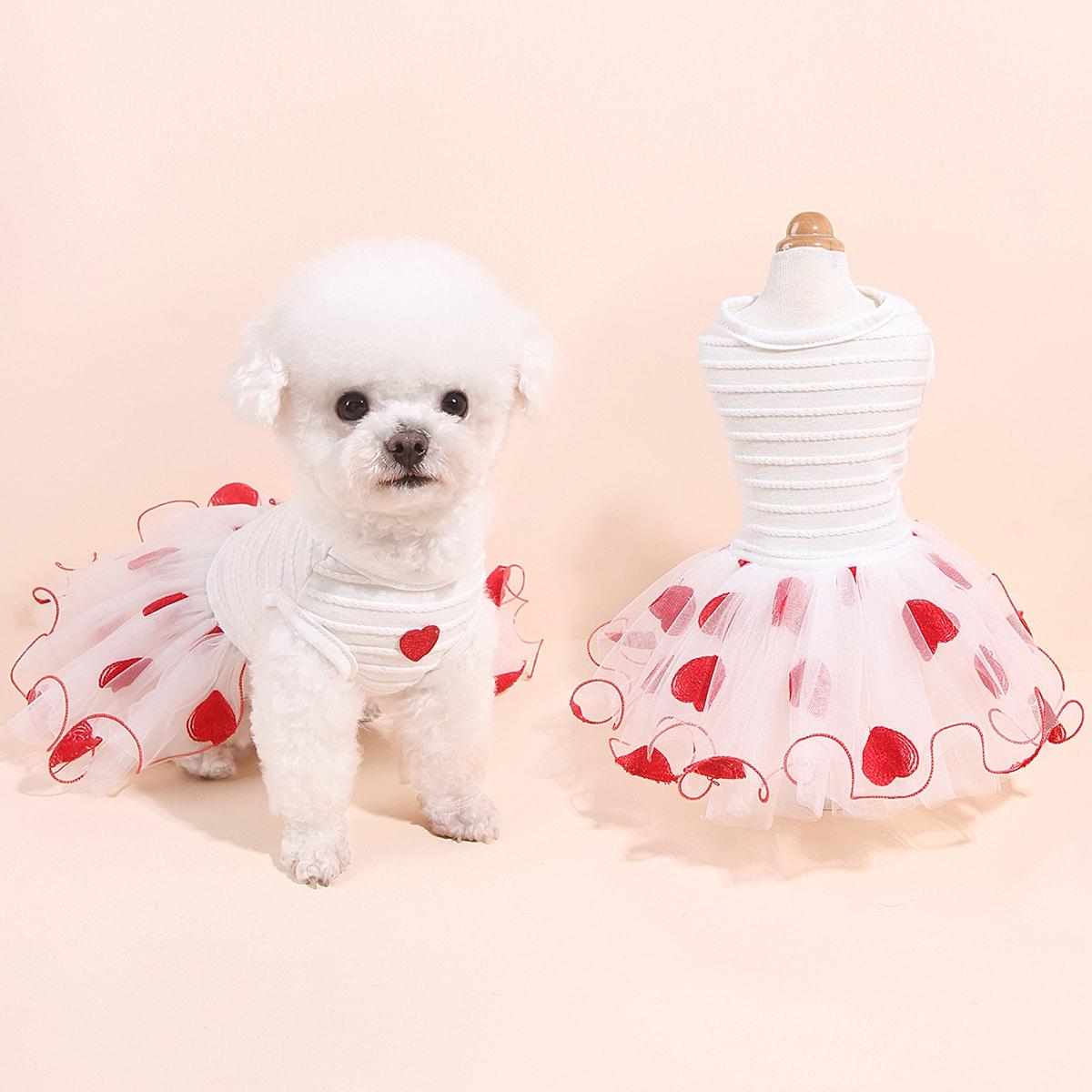 Heart Embroidery Mesh Pet Dress