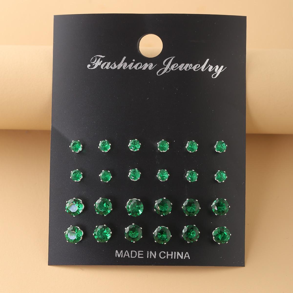 12pairs Zircon Decor Stud Earrings