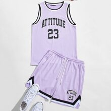 Guys Striped Trim Letter Graphic Tank Top & Track Shorts Set