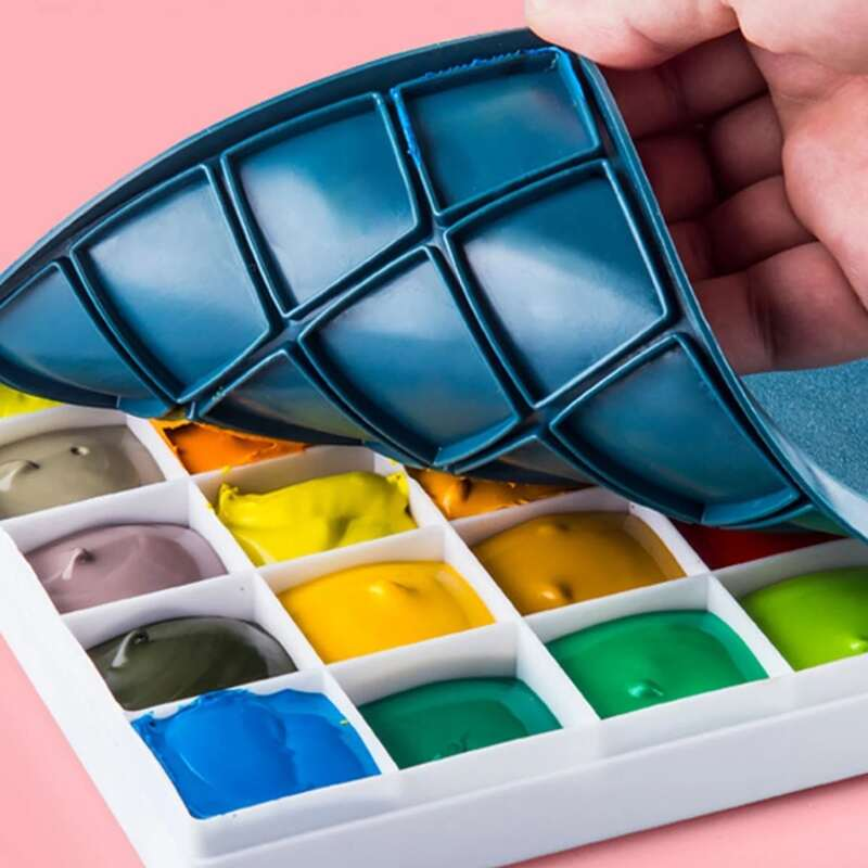 1pc Multi-grid Paint Box, Blue and white