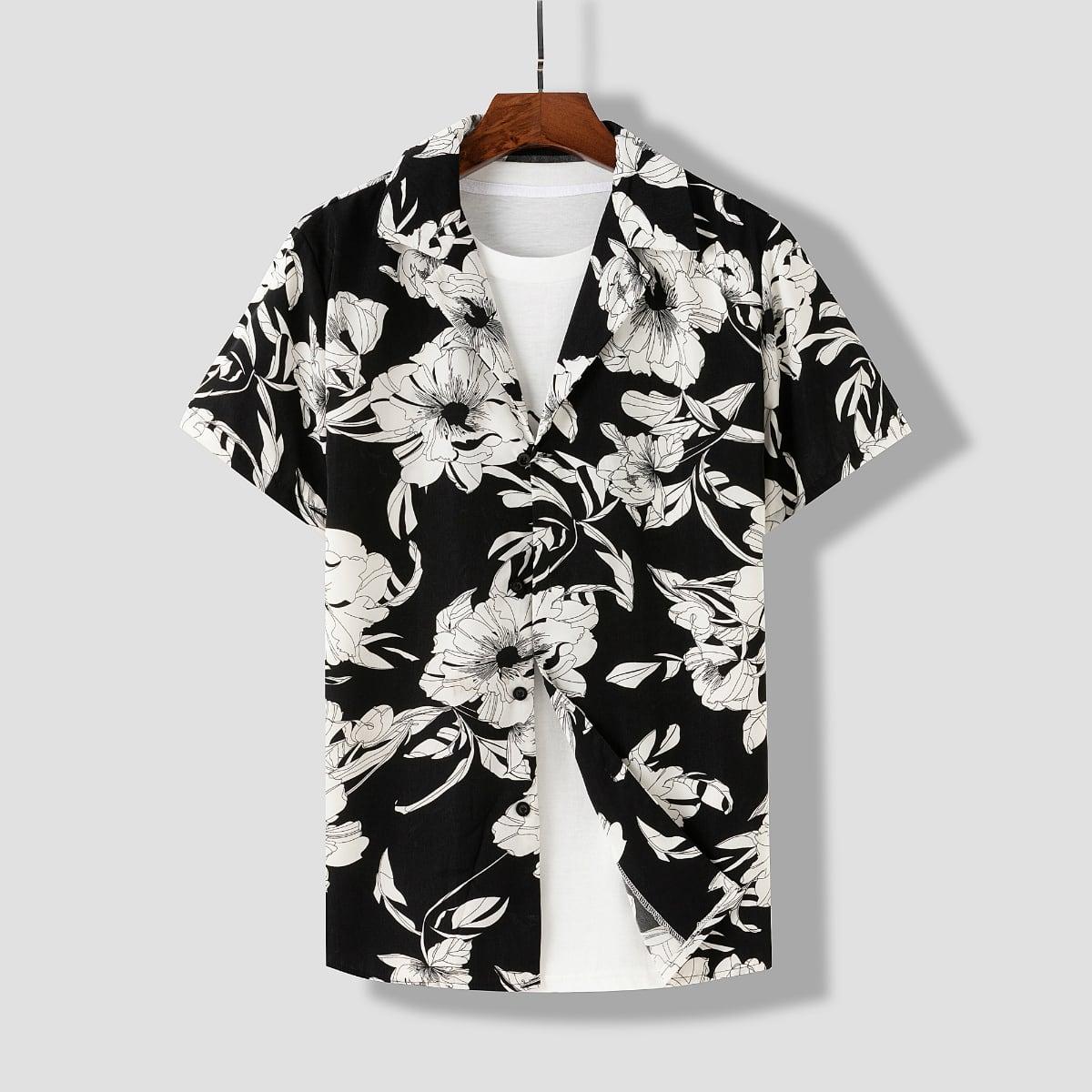 Мужская рубашка с цветочным принтом SheIn smshirt25210331410