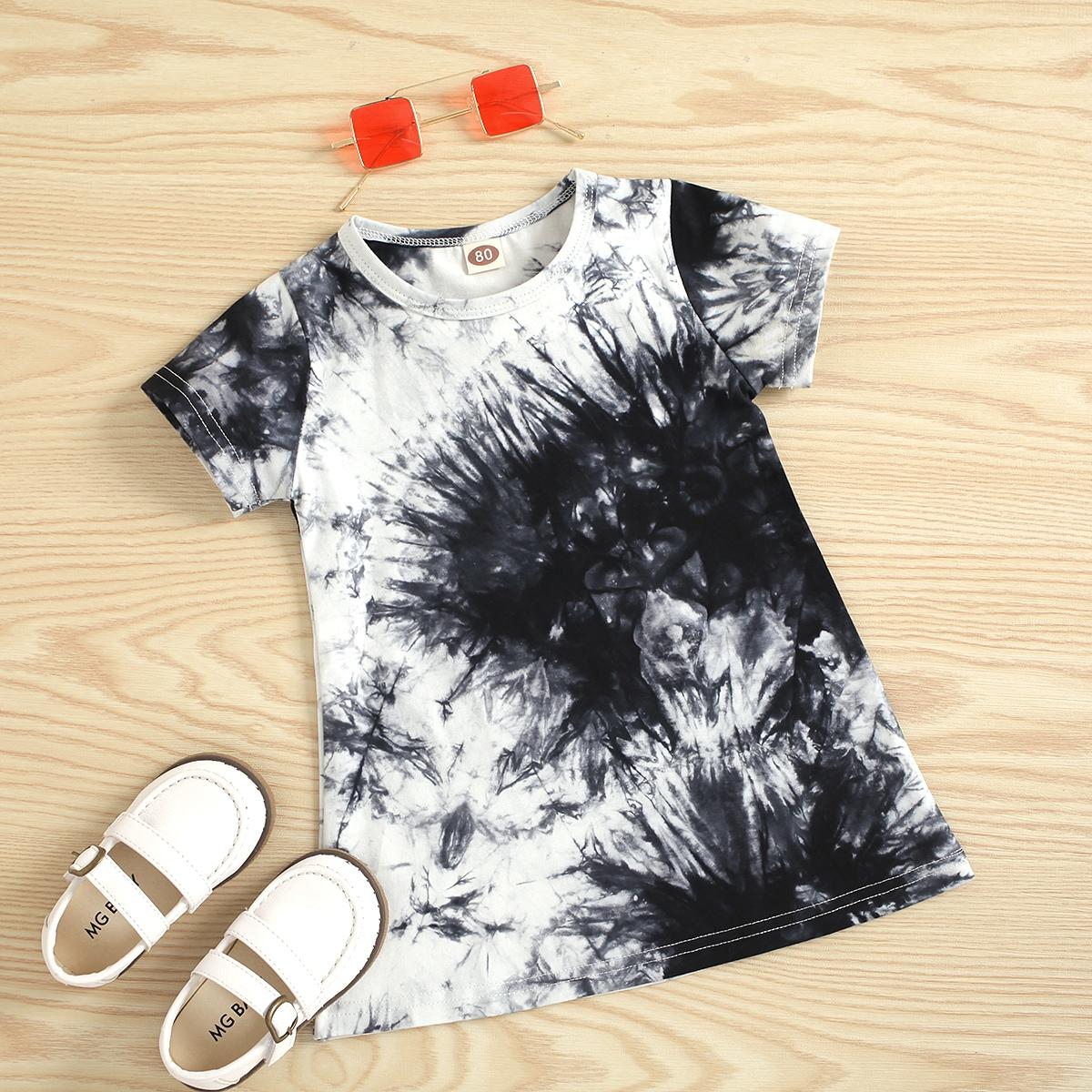Платье-футболка с принтом тай-дай для девочек от SHEIN