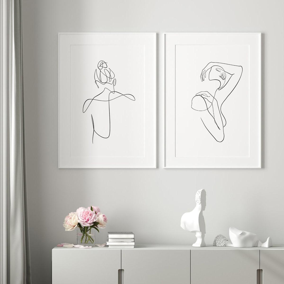 2 Stücke ungerahmte Malerei mit Figur Grafik
